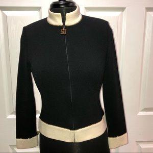 St. John Santana knit blazer size 2 black cream